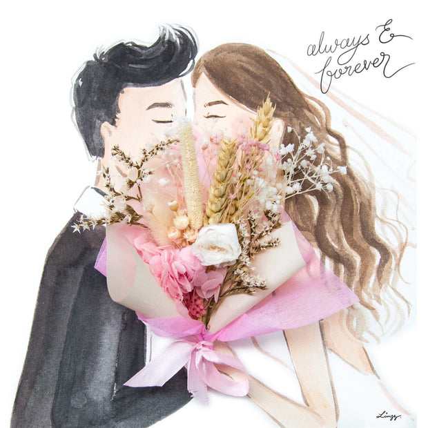 Artprint with Preserved Flowers-Kissing Couple-Peach Pink-Love Limzy Co.