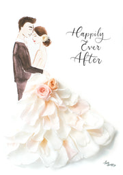 Artprint with Preserved Flowers-La Vie En Rose Couple-Cream White-Petite A5 ( 18 x 24 cm )-Completed Piece-Love Limzy Co.