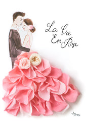 Artprint with Preserved Flowers-La Vie En Rose Couple-Pink-Petite A5 ( 18 x 24 cm )-Completed Piece-Love Limzy Co.