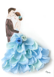 Artprint with Preserved Flowers-La Vie En Rose Couple-Sea Blue-Petite A5 ( 18 x 24 cm )-Completed Piece-Love Limzy Co.