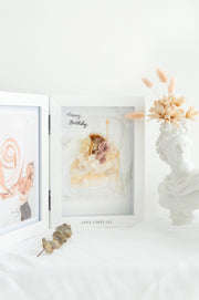 Artprint with Preserved Flowers-Orange Slice Cake-Book Frame ( 35 x 25 cm )-Completed Piece-Love Limzy Co.