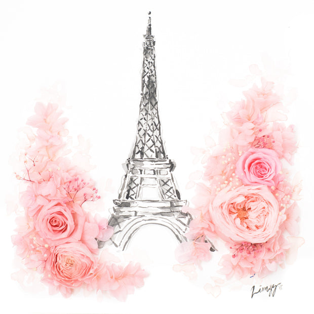 Artprint with Preserved Flowers-Paris in Spring-Classic Square ( 25 x 25 cm )-Completed Piece-Love Limzy Co.