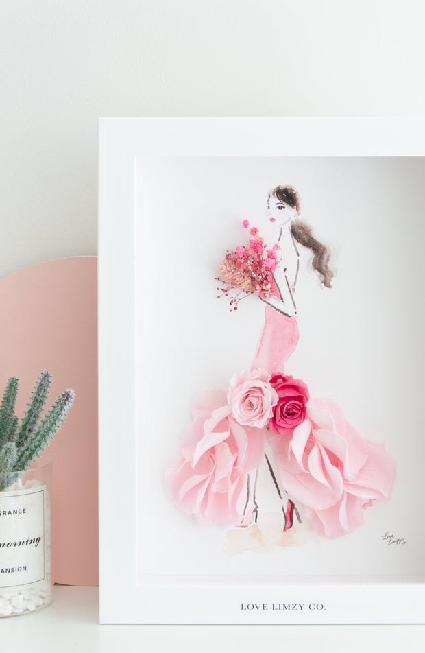 Artprint with Preserved Flowers-Rosie Mermaid Gown-Love Limzy Co.