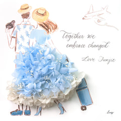 Artprint with Preserved Flowers-Traveling Couple-Sea Blue-Classic Square ( 25 x 25 cm )-Completed Piece-Love Limzy Co.