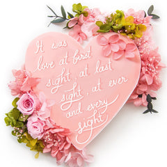 Artprint with Preserved Flowers-Words from My Heart-Peach Pink-Classic Square ( 25 x 25 cm )-Completed Piece-Love Limzy Co.