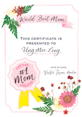 Artprint with Pressed Flower-Best Mom Cert-Love Limzy Co.