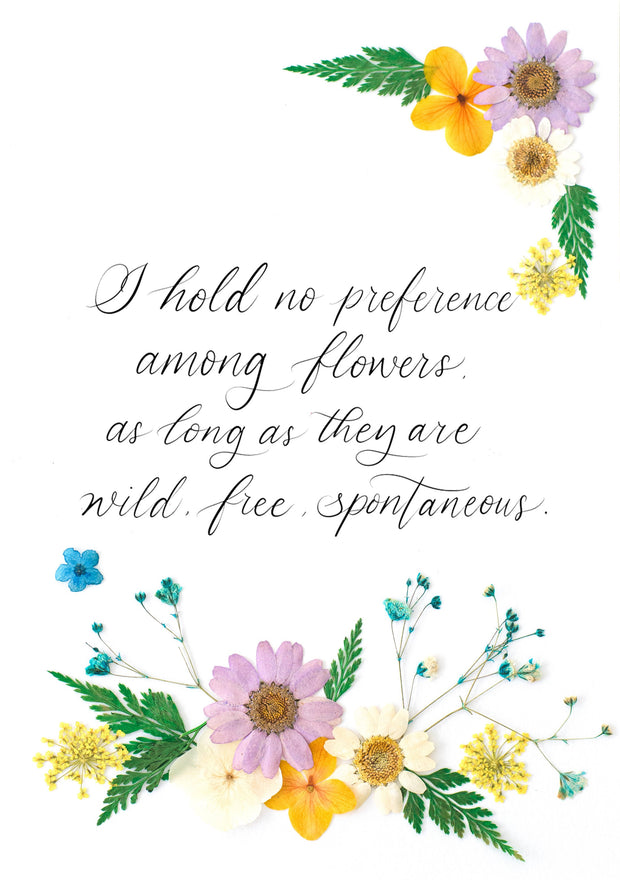 Artprint with Pressed Flower-Customised quote with pressed flowers-Petite A5 ( 18 x 24 cm )-Lavender Garden-Love Limzy Co.