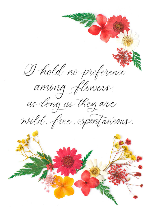 Artprint with Pressed Flower-Customised quote with pressed flowers-Petite A5 ( 18 x 24 cm )-Red Garden-Love Limzy Co.