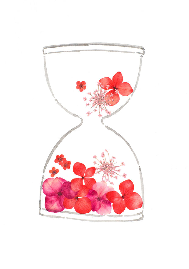 Artprint with Pressed Flower-Flower Hourglass-Love Limzy Co.