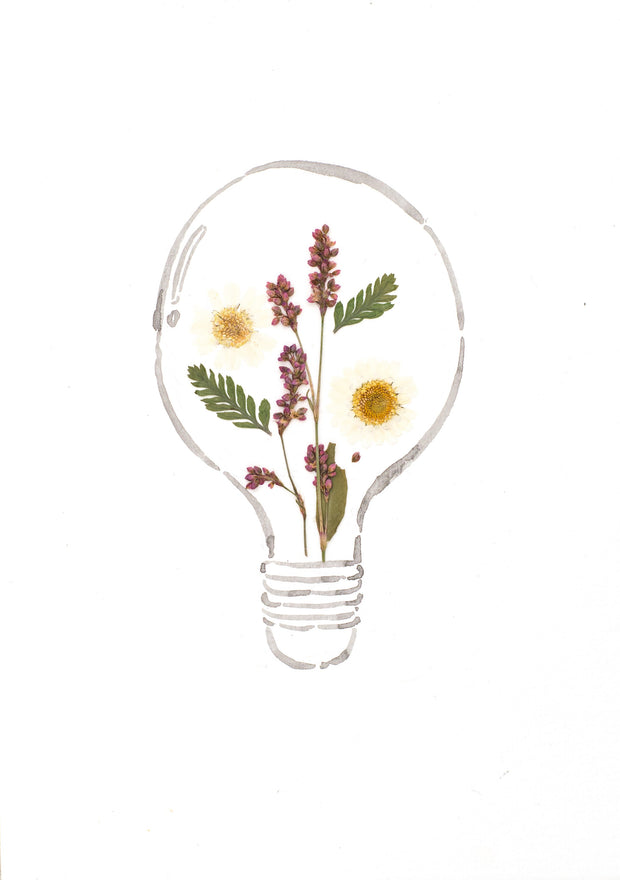 Artprint with Pressed Flower-Flower Lightbulb-Love Limzy Co.