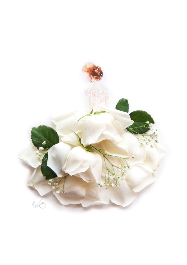 Digital Artprint-White Rose Bride-Petit A5-Love Limzy Co.