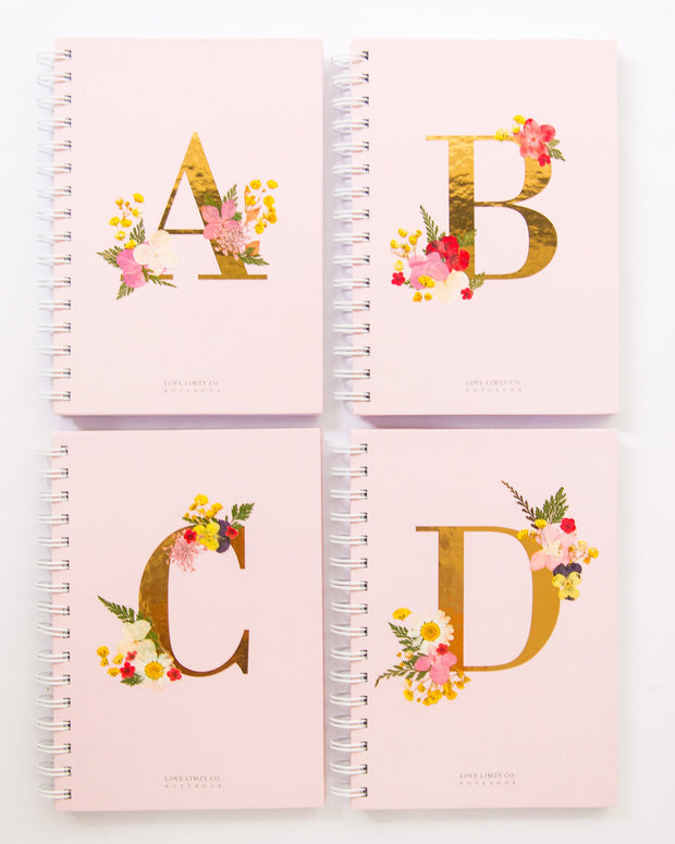 Notebooks-Floral Monogram Notebook in Blush-A-Love Limzy Co.