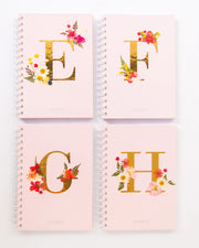 Notebooks-Floral Monogram Notebook in Blush-E-Love Limzy Co.