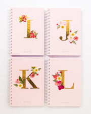Notebooks-Floral Monogram Notebook in Blush-I-Love Limzy Co.