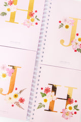Notebooks-Floral Monogram Notebook in Blush-Love Limzy Co.