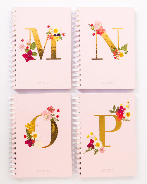 Notebooks-Floral Monogram Notebook in Blush-M-Love Limzy Co.