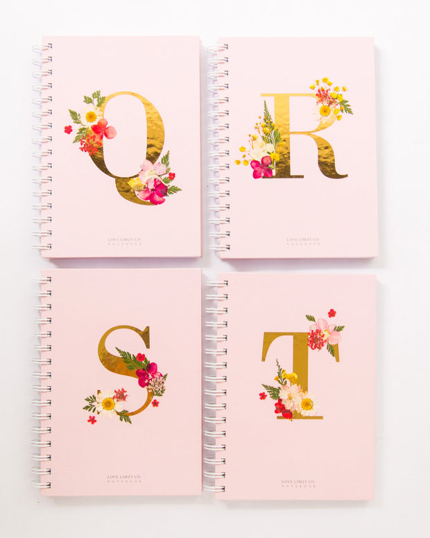 Notebooks-Floral Monogram Notebook in Blush-Q-Love Limzy Co.