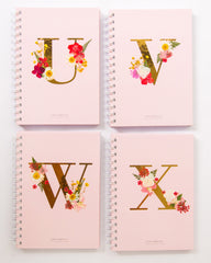 Notebooks-Floral Monogram Notebook in Blush-U-Love Limzy Co.