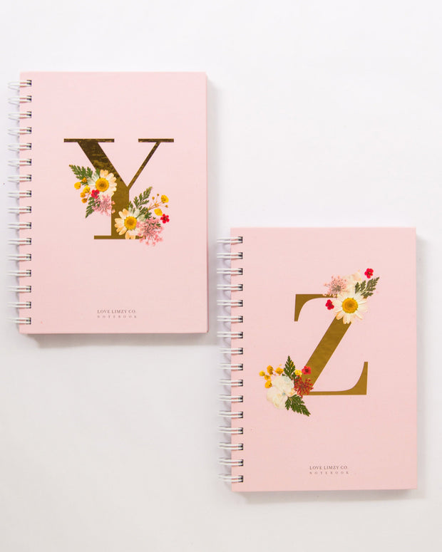 Notebooks-Floral Monogram Notebook in Blush-Y-Love Limzy Co.