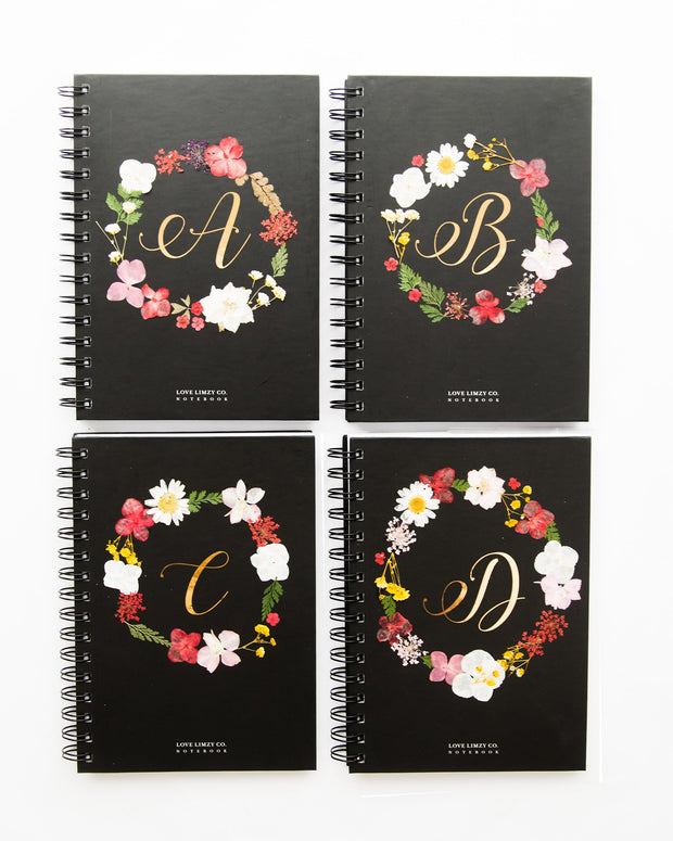 Notebooks-Floral Monogram Notebook in Ebony-A-Love Limzy Co.