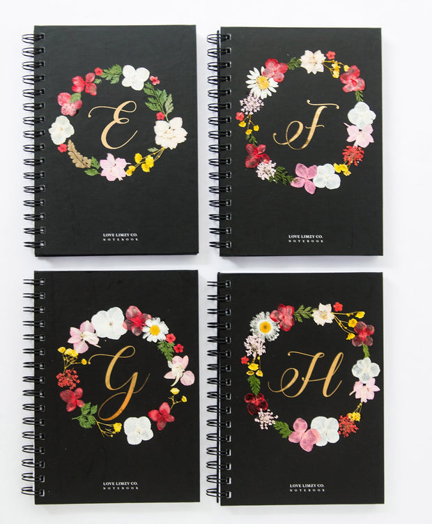 Notebooks-Floral Monogram Notebook in Ebony-E-Love Limzy Co.