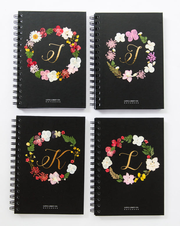 Notebooks-Floral Monogram Notebook in Ebony-I-Love Limzy Co.