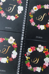 Floral Monogram Notebook in Ebony - Love Limzy Co.