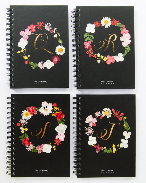 Notebooks-Floral Monogram Notebook in Ebony-Q-Love Limzy Co.