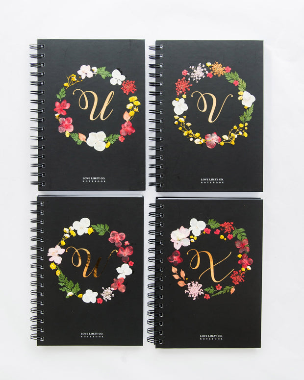 Notebooks-Floral Monogram Notebook in Ebony-U-Love Limzy Co.