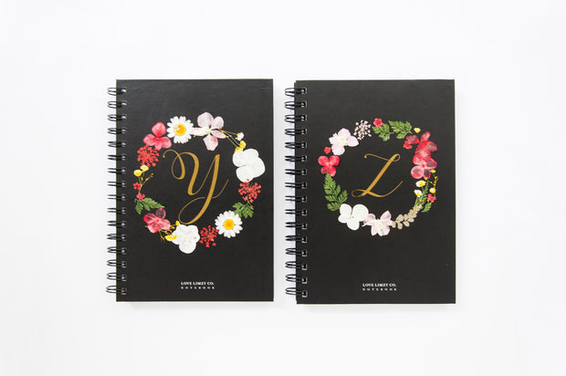 Notebooks-Floral Monogram Notebook in Ebony-Y-Love Limzy Co.