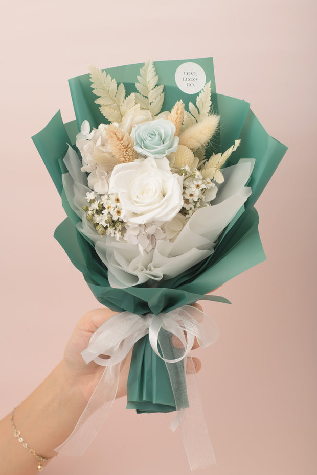 Preserved Dried Flower Bouquet-Morandi Rose Garden - Jade Green-Love Limzy Co.