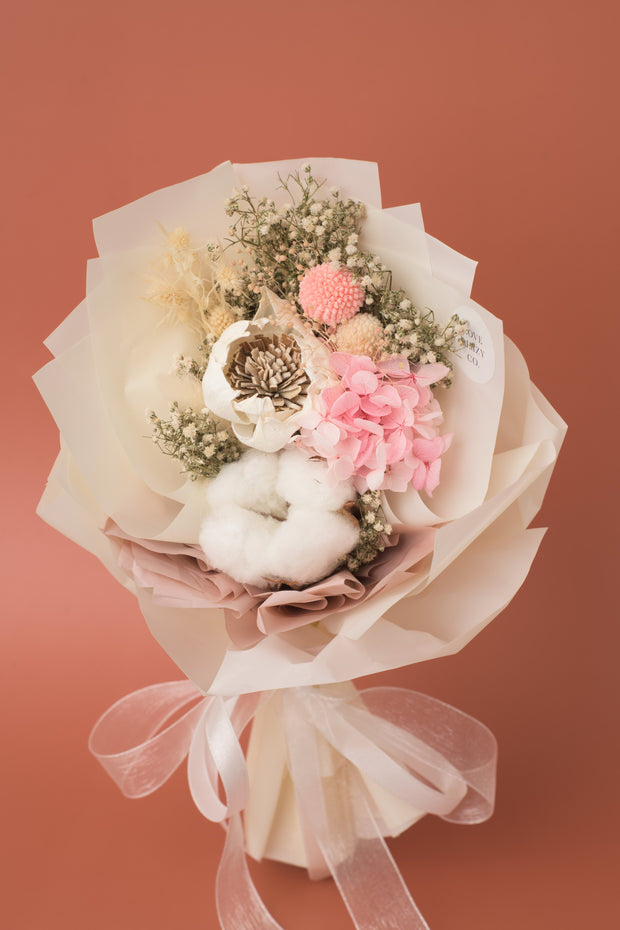 Preserved Dried Flower Bouquet-Sola Peony - Mellow Cream-Love Limzy Co.