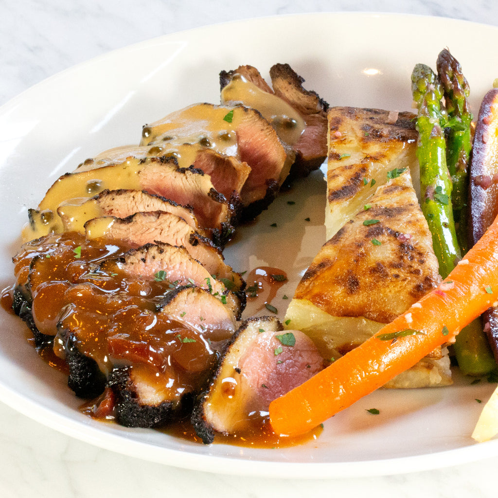 Grilled Duck Breast*, French Hen