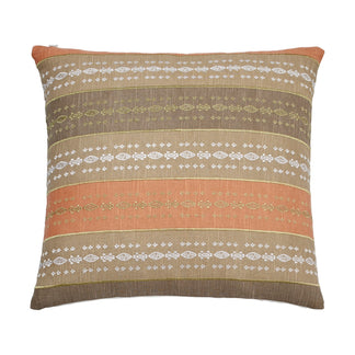 Abstract Aztec Coral Metallic Stripe Decorative Pillow