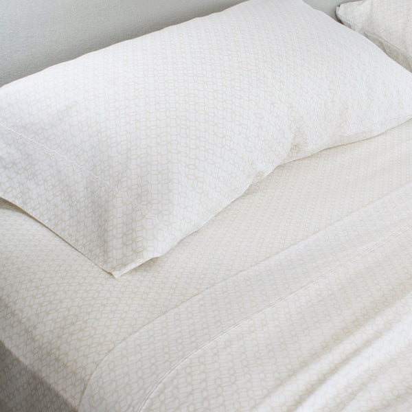 300 Thread Count Organic Cotton Brushed Percale Sheet Set (Pattern)