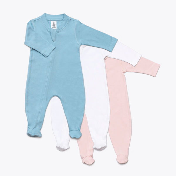 Organic Solid Long-Sleeve Footed Onesie