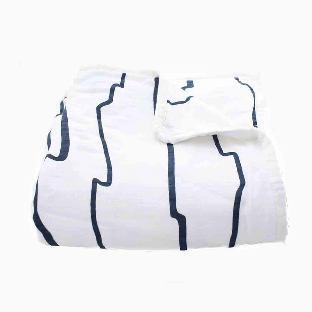 Organic Cotton Muslin Navy Play Blanket