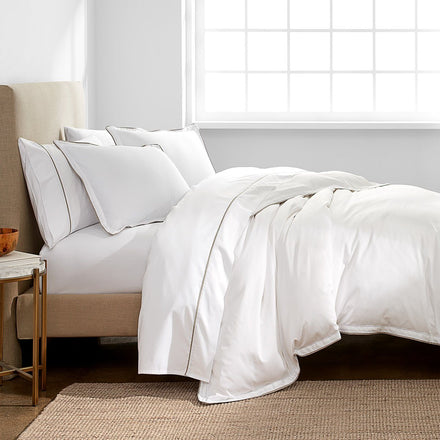 300 Thread Count Organic Italian Hemstitch Duvet Cover Set