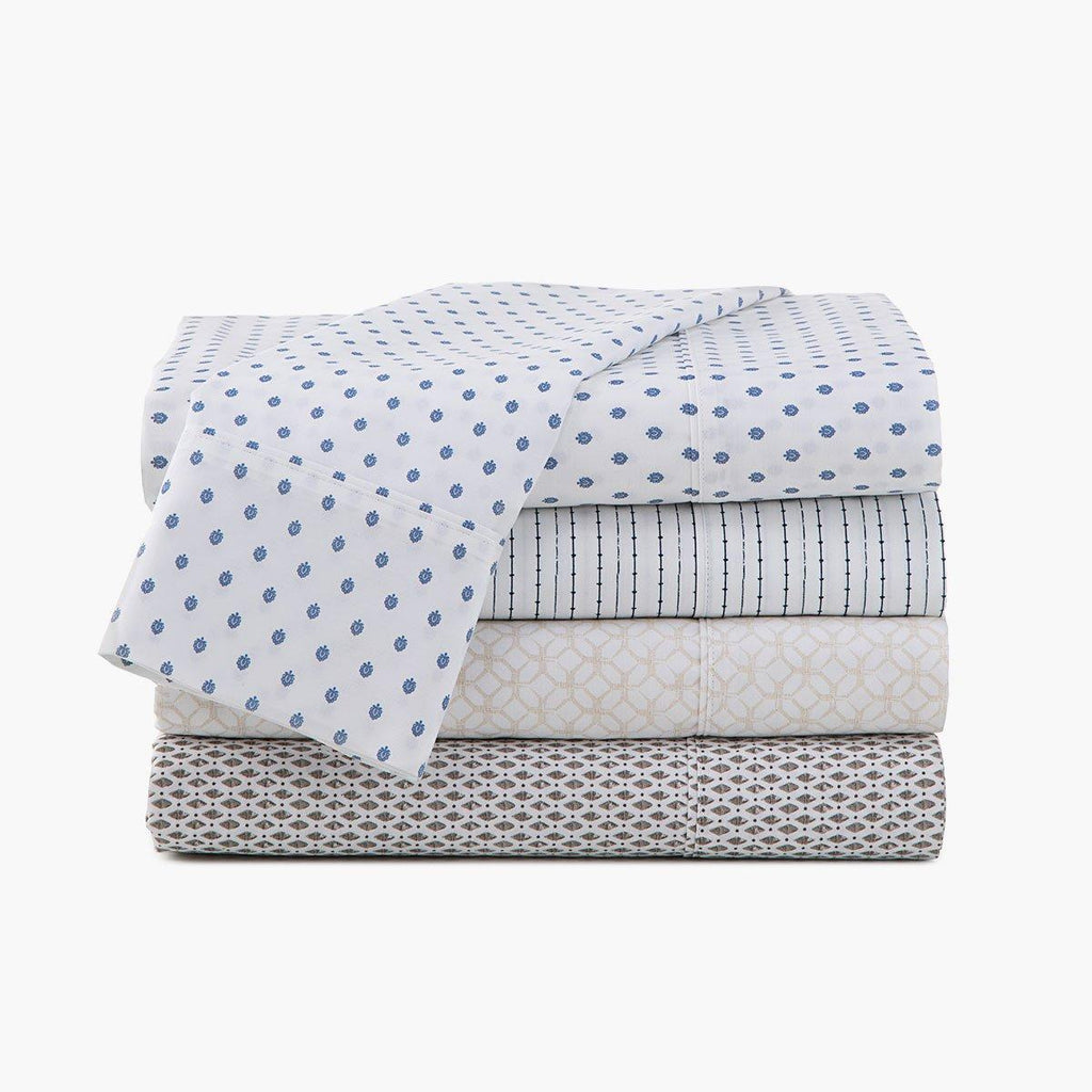 300 thread count organic cotton percale sheet set pattern under