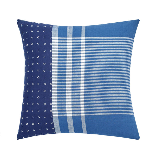 Shibori Chic Square Patchwork Decorative Pillow