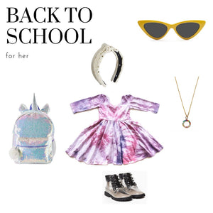 Back to School style pic featuring girls twirly dress in pastel tie dye