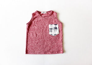 Unique toddler clothes by Worthy Threads: product shot of red tank top with beatnik pocket