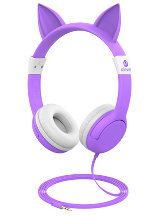 Pic of purple toddler ear phones: product recommended in Spring Break Gift guide by Worthy Threads, brand for unique toddler clothes.