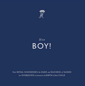 White text on navy background reads It's a BOY!