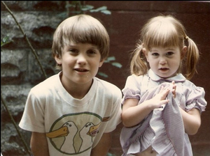 Jessica and her big brother as little kids