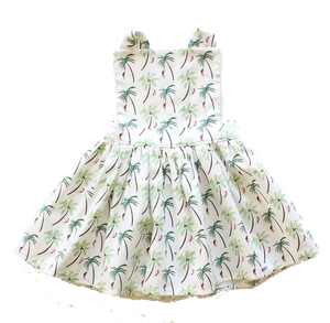 Girls pinafore dress featuring palm trees.  Unique toddler clothes