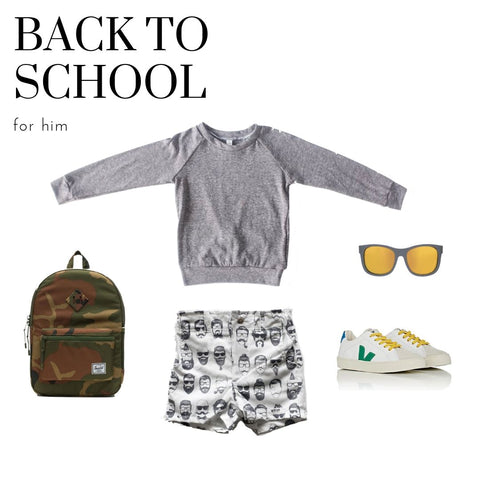 first day of school outfit for a boy featuring a worthy threads grey raglan and beatnik charcoal and white printed shorts