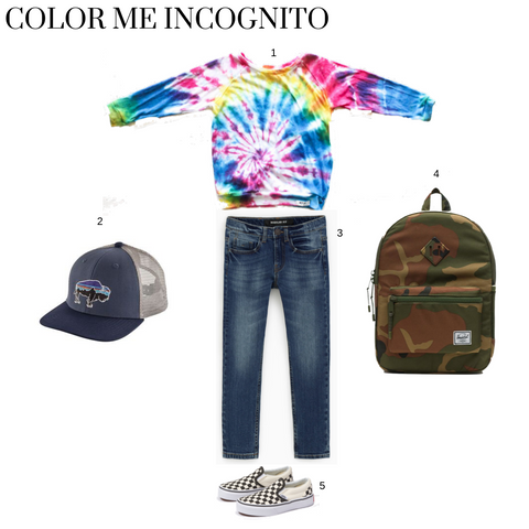 worthy threads school outfit featuring the multi tie dye raglan