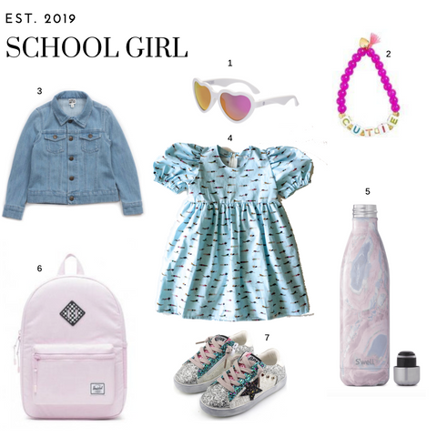 School girl outfit wit a puff sleeve dress, denim jacket, pink backpack, sequin sneakers, water bottle, heart sunglasses and a pink beaded bracelet