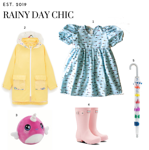 Rainy Day outfit with worthy threads blue puff sleeve dress, yellow raincoat, pink rain boots, an umbrella and a squeezimal